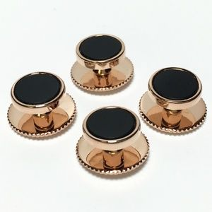 Other - 4 Rose Gold and Onyx Tuxedo Shirt Studs
